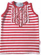 sleeveless red/white stripe T with front ruffles